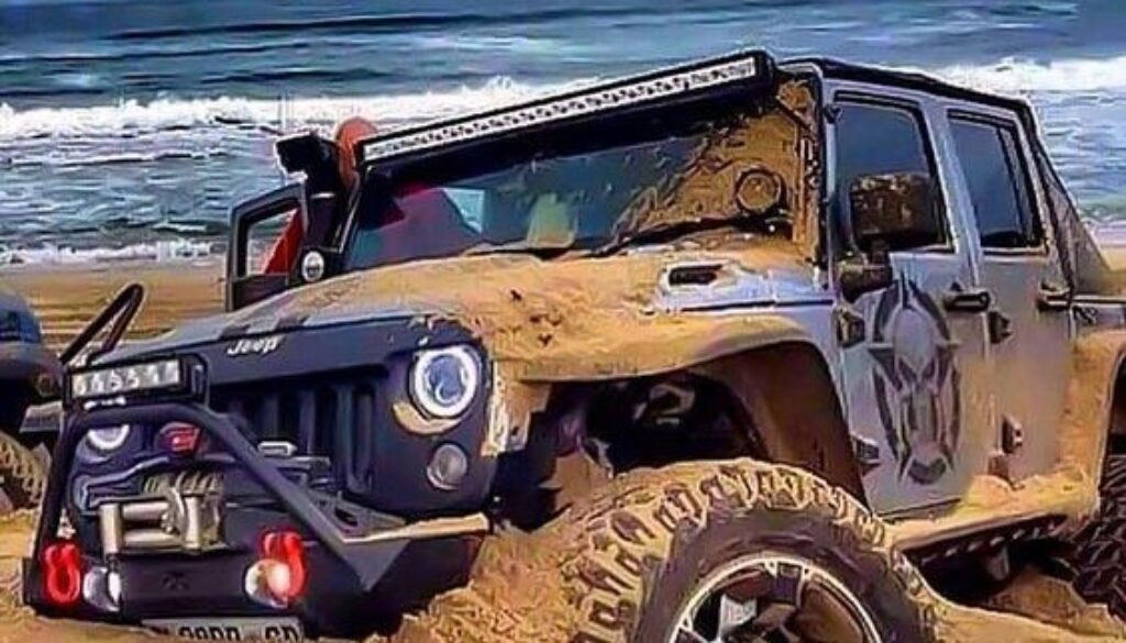 Jeep stuck on beach